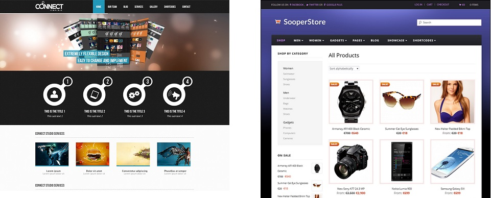 Webshop and theme example
